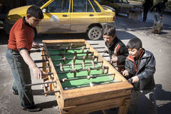 Table football near the main crossing between rebel and govenment areas, Aleppo. Royalty Free Stock Images