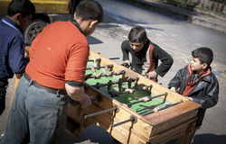 Table football near the main crossing between rebel and govenment areas, Aleppo. Stock Photos