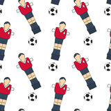 Table football sketch. Seamless pattern with hand-drawn cartoon icons - old-fashined foosball player and ball. Vector Stock Photo