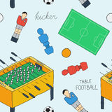 Table football sketch. Seamless pattern with hand-drawn cartoon icons - old-fashioned foosball player ,ball, field Royalty Free Stock Images
