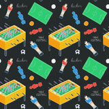Table football sketch. Seamless pattern with hand-drawn cartoon icons - old-fashioned foosball player ,ball, field Royalty Free Stock Photos