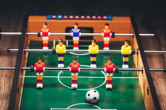 Table football soccer game (kicker). Closeup view Royalty Free Stock Photos