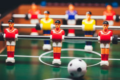 Table football soccer game (kicker). Closeup view Stock Image