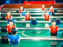 Table football soccer game kicker . Cropped image of foosball. table soccer Royalty Free Stock Photography