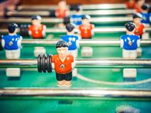 Table football soccer game kicker . Cropped image of foosball. table soccer Stock Image