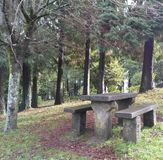 The table in the forest. A bocolic scenery, a path, a table in the foothills of the Sameiro hill, in Braga, Portugal Stock Photo