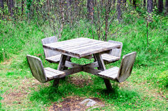 Table in forest at rest area Stock Photos
