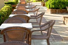 Table and four chairs on patio Royalty Free Stock Images