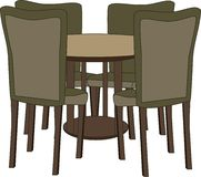 Table with four chairs vector illustration Royalty Free Stock Photography