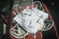 Table for four at a Niagara Falls restaurant, Niagara Falls, NY Royalty Free Stock Image