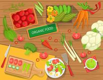 Table With Fresh Organic Vegetables And Cooking Attributes View From Above Stock Photography