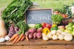 Table of fresh produce at market Royalty Free Stock Image