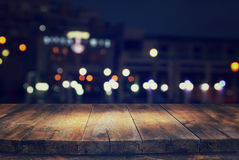 table in front of abstract background of restaurant lights