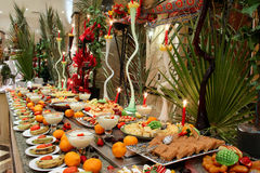 Table with fruit and dessert in hotel Stock Photography