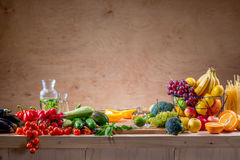Table with fruits and vegetables Stock Image