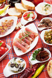 Table full of appetizers Royalty Free Stock Photos