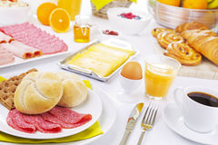 Table full with continental breakfast items Royalty Free Stock Photos