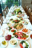 Table full of food. Fancy dining table in a resturant in Arabia Royalty Free Stock Photos