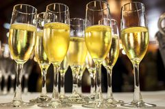 Table full of glass of white cava royalty free stock photography