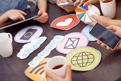 Table full of icons and pallets Royalty Free Stock Photography