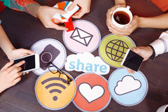 Table full of icons and pallets Stock Photography