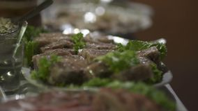 Table full of meat at the wedding. Fresh food from catering dinner table. food on plates from catering table full of different meat types stock video footage