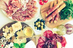 Table full of mediterranean appetizers Royalty Free Stock Photography