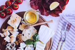 Table full of mediterranean appetizers Royalty Free Stock Photos