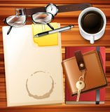 Table full of paper and other stationaries Royalty Free Stock Images