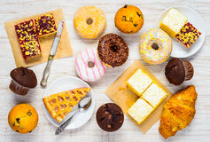 Table Full of Sweets, Cakes and Dessert Food Royalty Free Stock Photos