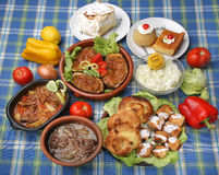 Table full of tasty traditional meals Stock Photo