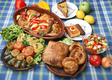 Table full of tasty traditional meals Royalty Free Stock Photos