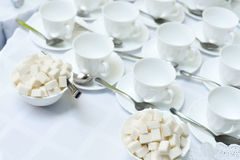 Table full of tea or coffee cups Stock Photo