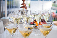 Table full of wine glasses Stock Photography