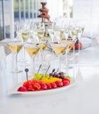 Table full of wine glasses Stock Photo
