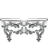 Table furniture with detailed ornaments Royalty Free Stock Images