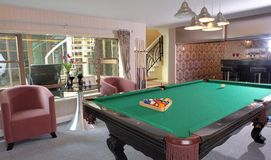 Table for game in billiards. In modern hotel Stock Image