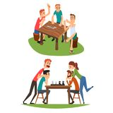 Table games set, friends playing domino and chess. Table games set, friends playing domino and chess, a group of friends to spend time together vector Royalty Free Stock Photos