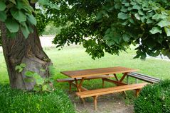 Table in garden Stock Image