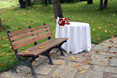Table in garden Royalty Free Stock Image