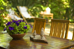 Table in the garden Royalty Free Stock Photography