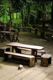 Table in garden. They are table and chair in thai style garden Royalty Free Stock Photos