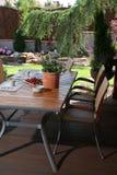 Table on garden patio royalty free stock photos