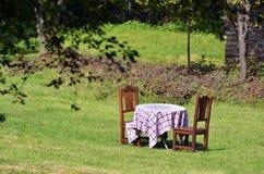 Table in the Garden Stock Photo