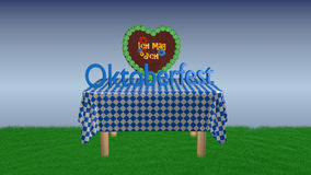 Table with gingerbread heart. Table with blue and white checkered blanket on which a gingerbread heart with German text `I like you` stands and the text ` stock illustration