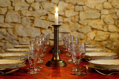 Table and glass. A table for dinner at the French Royalty Free Stock Image