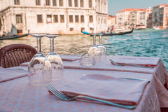 Table of glasses of wine in Venice Stock Photo