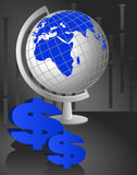 Table Globe and Dollars. Background of a table globe and dollar icons stock illustration