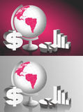 Table Globe and Graphic Charts. Illustration of a table globe, dollar icon and graphic charts Royalty Free Stock Photography