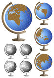 Table Globes. Table globe icons showing all continents with two alternative colors royalty free illustration